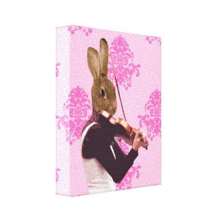 Fun rabbit playing violin canvas print