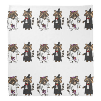 Fun Raccoon Bride and Groom Wedding Art Bandana