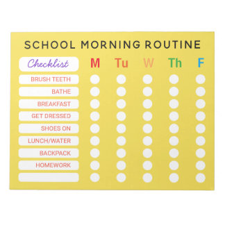 Fun Rainbow Daily Routine Checklist Custom Chores Notepad