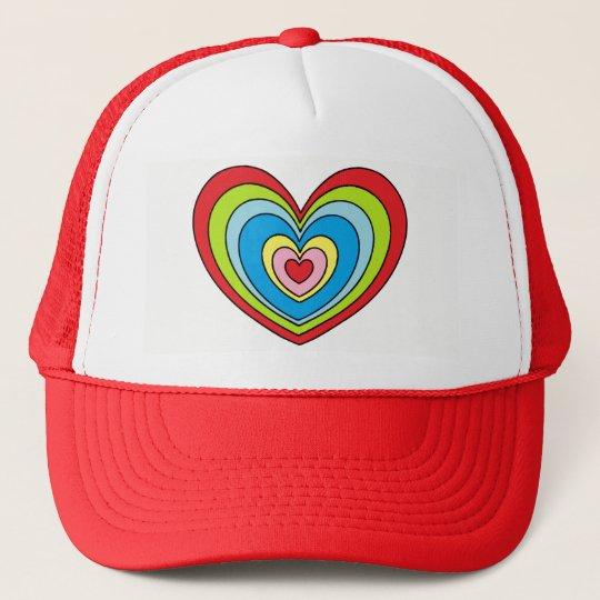 Fun Rainbow Heart Print Red and White Cap