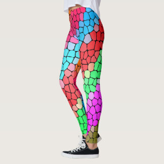Fun Rainbow Mosaic Pattern Leggings
