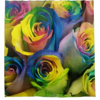Fun Rainbow Roses Shower Curtain