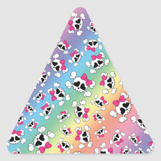 Fun rainbow skulls and bows pattern triangle stickers