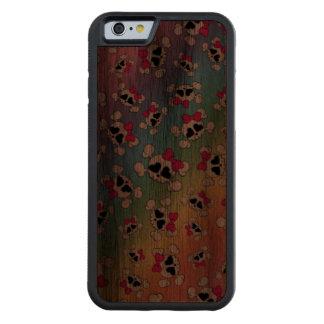 Fun rainbow skulls and bows carved® walnut iPhone 6 bumper
