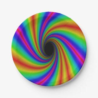 Fun Rainbow Swirl Design Paper Plates