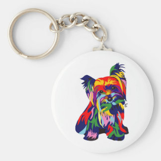 Fun Rainbow Yorkie Key Ring