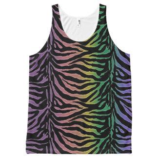 Fun Rainbow Zebra Animal Print Tank Top