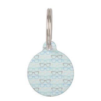 Fun Reading Glasses Pattern on Blue Pet Name Tag