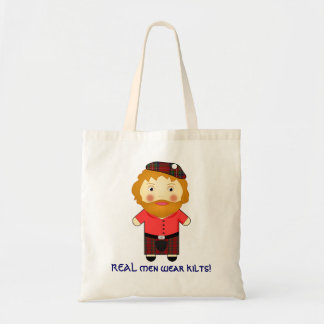 Fun REAL men Wear Kilts - Cartoon Vector Tote Bag