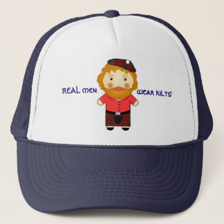 Fun - REAL men Wear Kilts - Cartoon Vector Trucker Hat