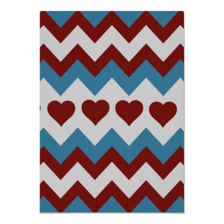 Fun Red and Blue Hearts Chevron Pattern Personalized Announcement