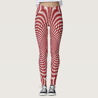 Fun Red and White Fractal Art of Distorted Checks Leggings