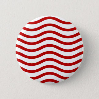 Fun Red and White Wavy Lines Stripes Pattern Gifts 6 Cm Round Badge