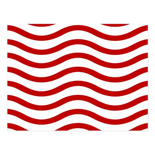 Fun Red and White Wavy Lines Stripes Pattern Gifts Postcard