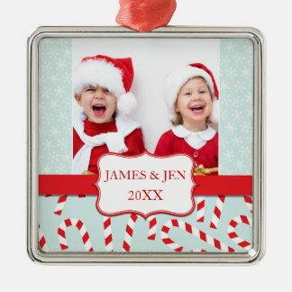 FUN RED BLUE MERRY CHRISTMAS PHOTO ORNAMENT
