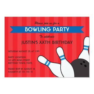 Fun red blue modern bowling birthday party 13 cm x 18 cm invitation card