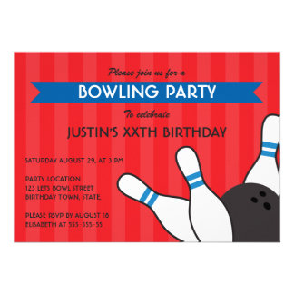 Fun red blue modern bowling birthday party personalized invite