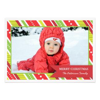 Fun Red Green Stripes Christmas Photo Card