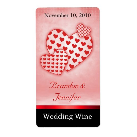 Fun Red Hearts Wedding Mini Wine Labels
