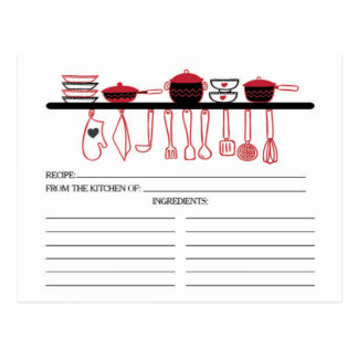 Fun Red Kitchen Gadgets Bridal  Recipe Cards