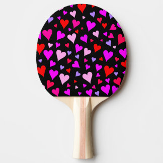 Fun Red, Pink, Purple & Magenta Hearts Pattern Ping Pong Paddle