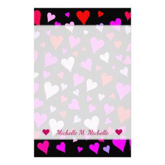 Fun Red, Pink, Purple & Magenta Hearts Pattern Stationery