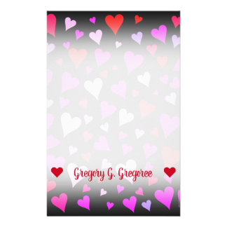 Fun Red, Pink, Purple & Magenta Hearts Pattern Stationery