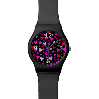 Fun Red, Pink, Purple & Magenta Hearts Pattern Wrist Watches