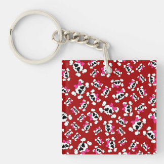 Fun red skulls and bows pattern key chains