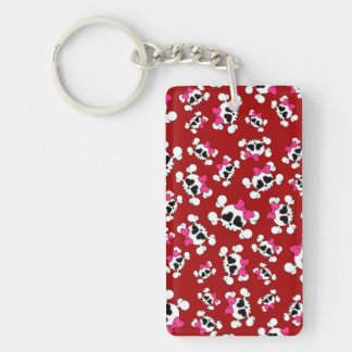 Fun red skulls and bows pattern rectangular acrylic keychains