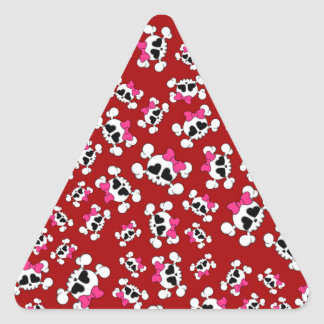 Fun red skulls and bows pattern triangle sticker