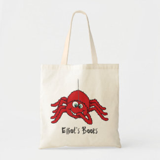 Fun red spider kids named id library tote bag