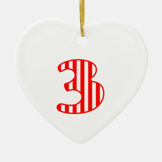 Fun Red Striped Number 3 THREE A17 Ceramic Heart Decoration