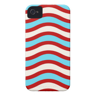 Fun Red Teal Turquoise White Wavy Lines Stripes iPhone 4 Case-Mate Cases