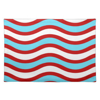 Fun Red Teal Turquoise White Wavy Lines Stripes Place Mats