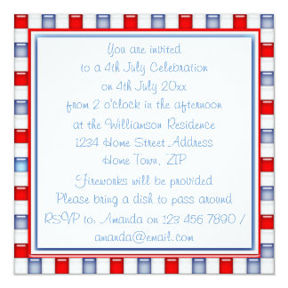 Fun Red, White and Blue Patriotic Party Invitation