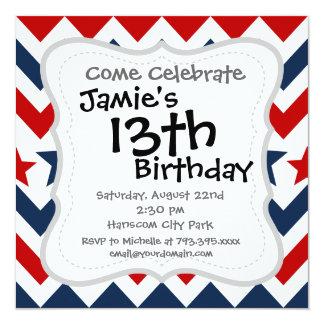 Fun Red White Blue Chevron Stars and Stripes 13 Cm X 13 Cm Square Invitation Card