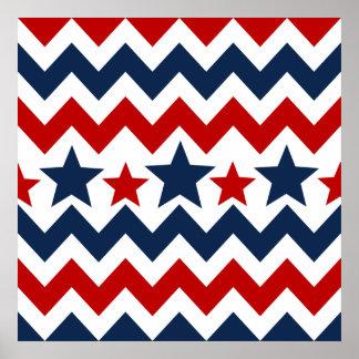 Fun Red White Blue Chevron Stars and Stripes Poster
