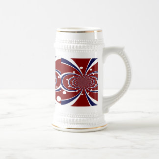 Fun Red White Blue Kaleidoscope Stripes Polka Dots Beer Steins