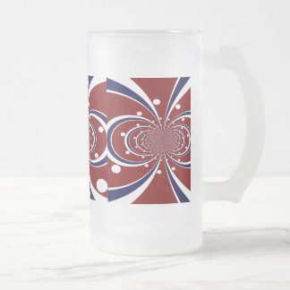 Fun Red White Blue Kaleidoscope Stripes Polka Dots Frosted Glass Mug