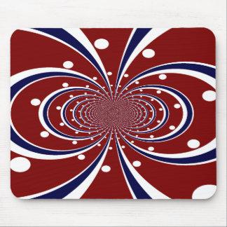Fun Red White Blue Kaleidoscope Stripes Polka Dots Mouse Pad