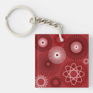 Fun Red White Geometric Pattern Spirograph Design Double-Sided Square Acrylic Key Ring