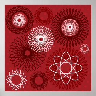 Fun Red White Geometric Pattern Spirograph Design Poster