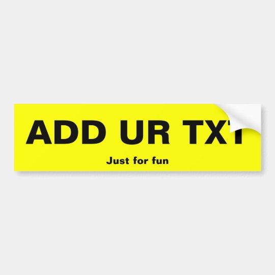 Fun Registration Plate bumper sticker