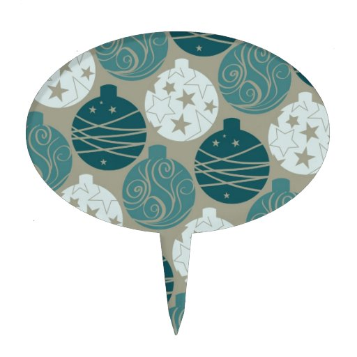 Fun Retro Blue Gray Christmas Ornaments Design Oval Cake Toppers
