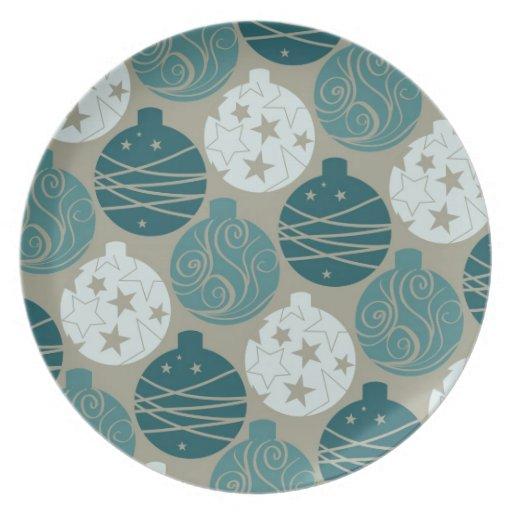 Fun Retro Blue Gray Christmas Ornaments Design Plates