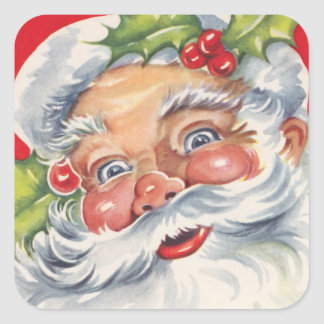 Fun Retro Christmas Santa Claus Stickers