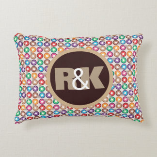 Fun Retro Circles w/Couples Monograms Decorative Cushion