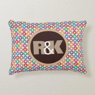 Fun Retro Circles w/Couples Monograms Decorative Cushion