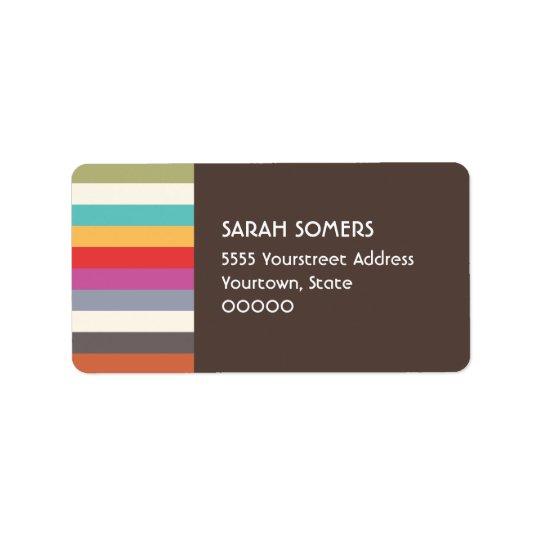 Fun Retro Colourful Multi Stripes Label Address Label
